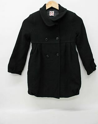 ICEBERG Girls Black Wool Blend Long Sleeved Double Breasted Coat Size 6 Years