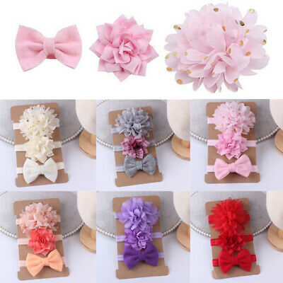 3Pcs Newborn Girl Baby Headband Ribbon Elastic Headdress Kids Hair Band Bow