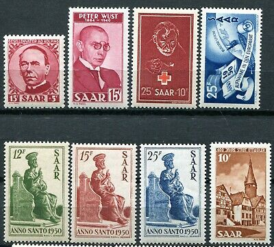 (362) 8 Very Good Saar 1950 Issues Sg286 - 294 Um.mint. Mnh.