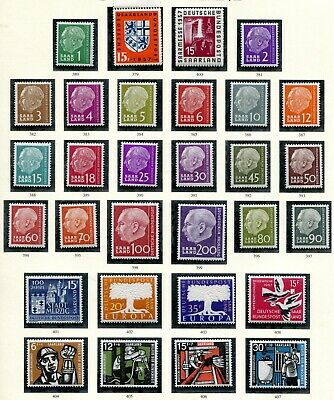 (368) A Page Of Very Good Saar 1957 Issues Sg376 - 404 Um.mint. Mnh.