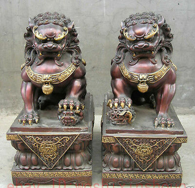 Chinese carved Folk Collection Classic Bronze Gilt Fu Foo Dog guard lion Statues