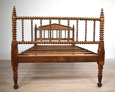 Antique Continental French / Spanish Bobbin Turned Walnut Bed