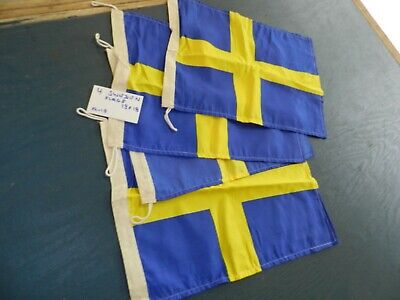4 Smaller SWEDEN Ship Cloth Flag   13 X 18 inches  All for 1 $