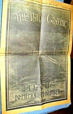 1912 RMS TITANIC Newspaper Daily Graphic Vintage Photos Old Ship Sinking Retro