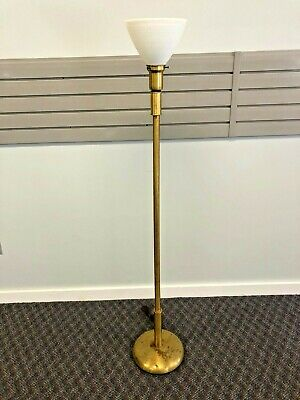 Vintage BRASS FLOOR LAMP mid century hollywood regency 60s torchiere light metal
