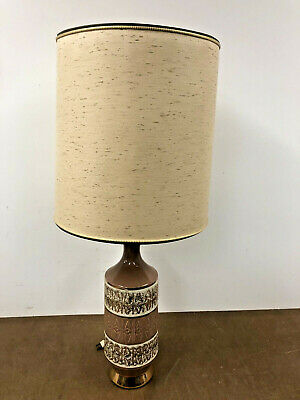 Vintage CERAMIC TABLE LAMP w Light Shade brown mid century modern retro 50s 60s