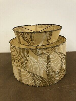 Vintage Two Tier Lamp Shade fiberglass floor light 50s round mid century modern