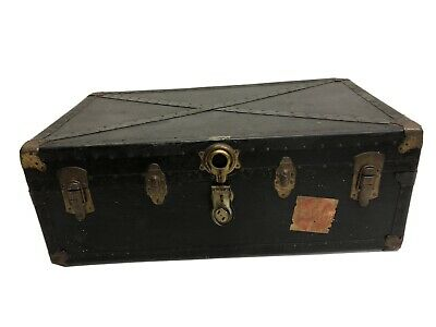 Vintage BLACK STEAMER TRUNK industrial wood chest coffee table box loft rustic A