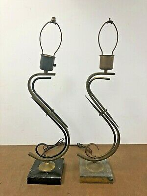 Vintage Z LAMP PAIR Mid Century Modern MAJESTIC 50s atomic set table light 2 MCM