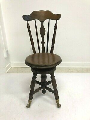 Vintage WOOD PIANO STOOL swivel organ glass ball claw foot victorian side chair