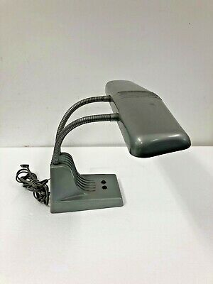 Vintage GRAY DESK LAMP Industrial Dazor light fixture jeweler flexible gooseneck