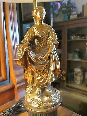 Vintage Heavy Brass Table Lamp  Woman Gathering Grapes Figural
