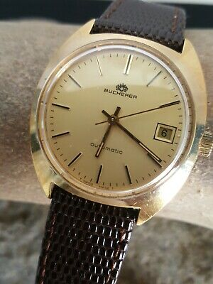 Vintage Bucherer Automatic 25 Jewels Gold Filled 34mm Watch Gold Face 58910