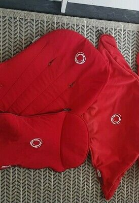 Bugaboo cameleon 1 & 2 red footmuff, hood, seat liner & apron please read !