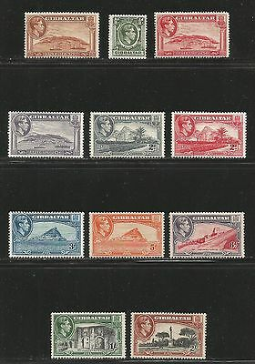 Gibraltar 1938-49 King George VI Scenic Definitives 1/2p-2sh (107-15) MH