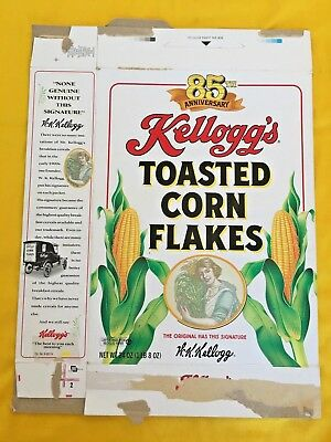 Kellogg's Corn Flakes 85th Anniversary Cereal Box 24 oz oz 1991 Collectible