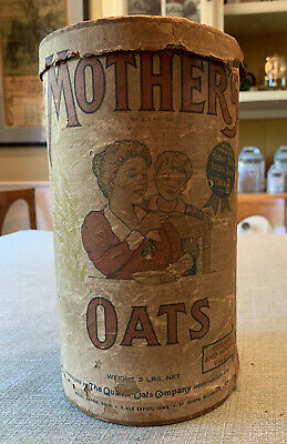 RARE 1902 Edwardian MOTHER'S OATS 3 Lb Cardboard Container.