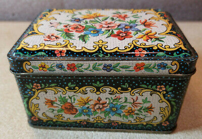 "Vintage Rectangle Collectible Tin Floral Hinged Lid Made in England 4"" x 3"""