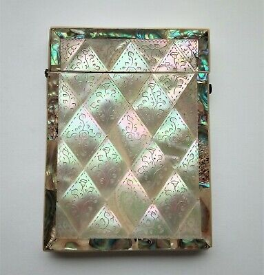 Victorian engraved Mother of Pearl & Abalone Calling Card Case, Blank Cartouche.