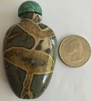 Stunning Antique Chinese Fossilized Agate Stone Marble Snuff Bottle With Top!!!!