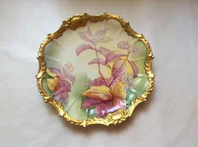 Antique Limoges Cabinet Plate Hand Painted Signed by Artist Gold w Flowers