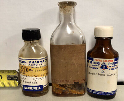 Lot Of Vintage Pharmacy Medicine Bottles