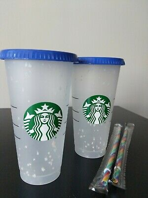 Two Starbucks Confetti Color Changing Cup  Rainbow Straw Pride Summer 2020