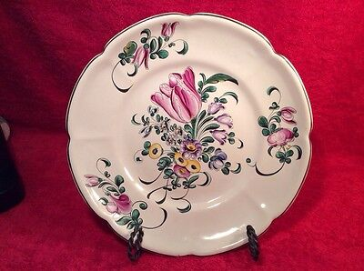 Antique Hand Painted French Faience Plate by Henri Chaumeil c1890-1920