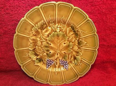Antique French Majolica Grapes and Leaves Plate