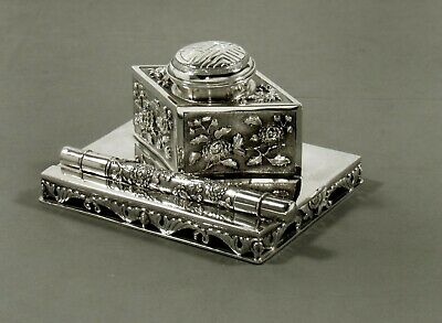 Chinese Export Silver Ink Stand                       c1890
