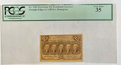 US Fractional Currency 1st Issue 25C Banknote FR1281 PCGS VF35 W/ABNCo. Monogram