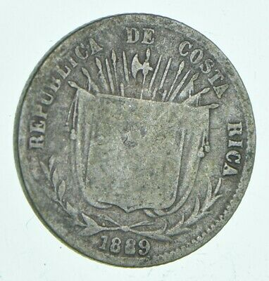 SILVER Roughly Size of Dime 1889 Costa Rica 10 Centavos World Silver Coin *630