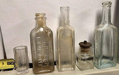 Lot Of Vintage Embossed Medicine Bottles