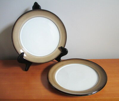 """Denby Country Cuisine 2 Dinner Plates 9 3/4"""" Brown Tan Stoneware 1980s England"""