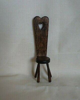 Vintage dolls house spinning stool, hand made from wood & signed. 12th scale.