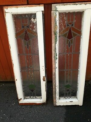 Vintage ~ Pair of Two Framed Stained Glass Windows