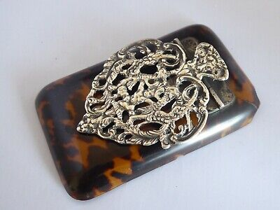 Antique Faux Tortoiseshell and Hall Marked Silver Paper Clasp Birmingham 1883