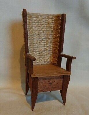 Vintage hand made wooden Orkney chair with woven 'straw' back 12th scale.