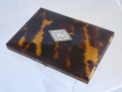 Antique Faux Tortoiseshell Calling / Visiting Card Case with Cartouche