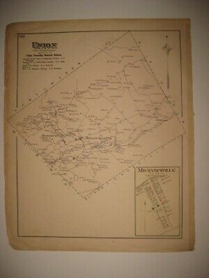 Antique 1877 Union Township Belleville Mifflin County Pennsylvania Handcolor Map