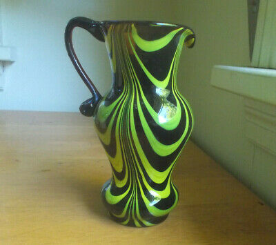 Amber Pontiled Free Blown Art Glass Pitcher With Yellow Loops Applied Handle
