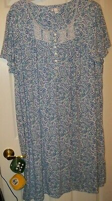 Secret Treasures Blue Button Front Short Sleeve Night Gown Womens 3X 22W 24W NWT