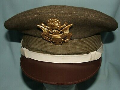 Officer Visor Hat Wool Winter Weight White Chin Straps (MP?) 7 1/8  Occupational