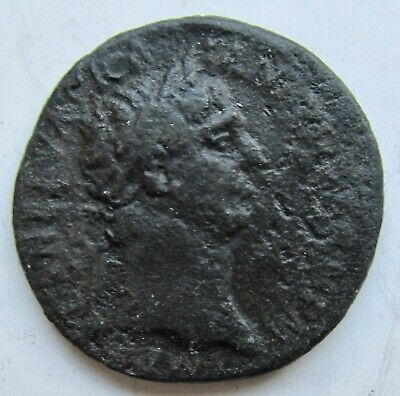 Ancient Rome Trajan Bronze AS; Reverse: Victory with Shield Incribed SPQR