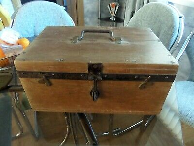 "Nice Vintage Lockable Wooden Box With Security Catch And Top Handle, 16"" 11"" 8"""