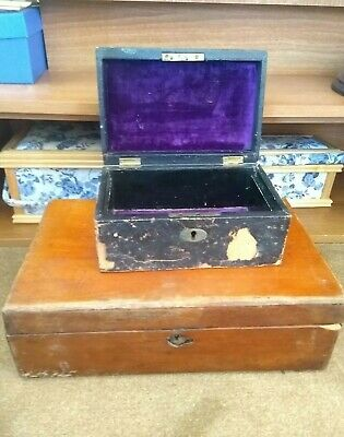 Two Antique Boxes For Restoration* Writing Box* Victorian Jewelry Box*