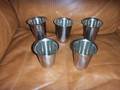 """Vtg Stainless Steel Drinking Cups 5 Pcs 6 Oz Capacity Heavy Weight 3.25"""" Tall"""