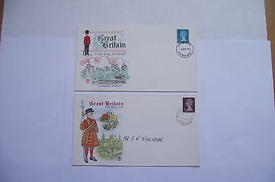 "GR. BRITAIN.2 FDC:""THE ISSUE of 6&1/2p STAMP""(1974)&""THE ISSUE of 7p STAMP(1975)"