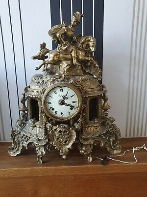Imperial Franz Hermle Gilt Brass Mantle Clock with key
