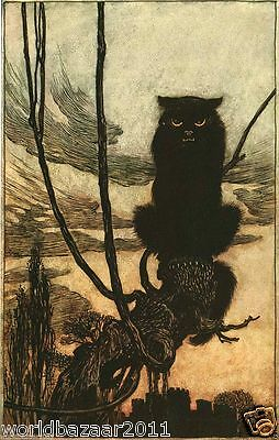 Arthur Rackham Print Black Cat Halloween Witch Witchcraft Magic Spell Potion